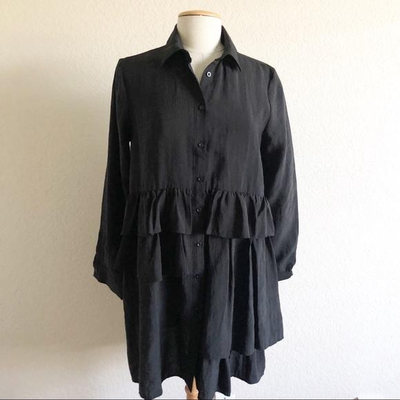 37bc1410 Zara Tops | Black Ruffle Shirt Dress | Poshmark
